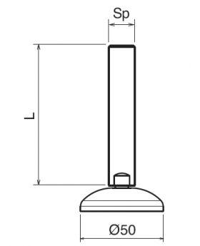 STELVOET Ø50mm RVS | L=135xM10 - SW7