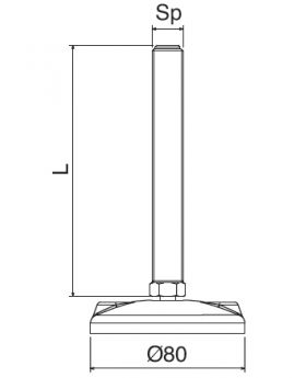 STELVOET Ø80mm RVS | L=85xM16 - SW16