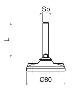 STELVOET Ø80mm RVS | L=72xM12 - SW9
