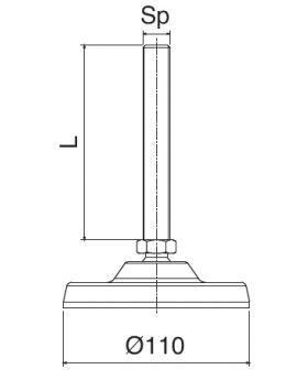 STELVOET Ø110mm RVS | L=115xM16 - SW20