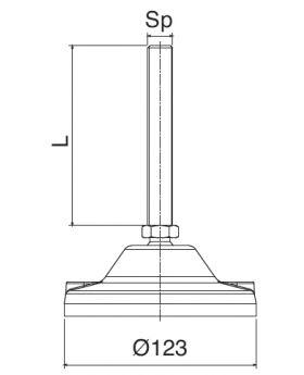 STELVOET Ø123mm RVS | L=195xM20 - SW20