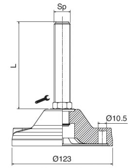 STELVOET Ø123mm RVS | L=148xM20 - SW20