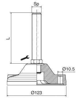 STELVOET Ø123mm RVS | L=198xM20 - SW20