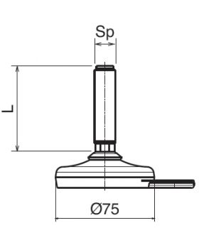 STELVOET Ø75mm (met fixeergat) | L=90xM20 - SW16