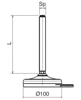 STELVOET Ø100mm (met fixeergat) | L=165xM16 - SW13
