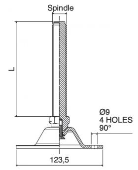 STELVOET Ø123mm RVS (4 gaten) 90° | L=115xM16 - SW20
