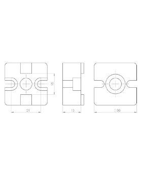 T-VERBINDER 30x30 (incl. bev. set) - GROEF 8