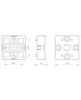 T-VERBINDER 45x45 (incl. bev. set) - GROEF 10
