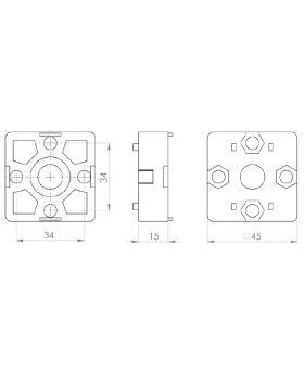 EIND-VERBINDER 45x45 (incl. bev. set) - GROEF 10