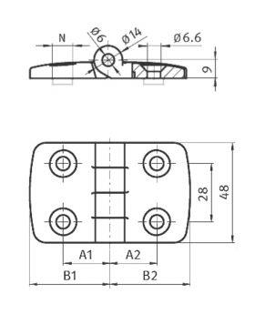 KUNSTSTOFSCHARNIER 30x45(incl. bev. set) - GROEF 8/10