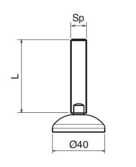STELVOET Ø40mm RVS | L=60xM12 - SW 9
