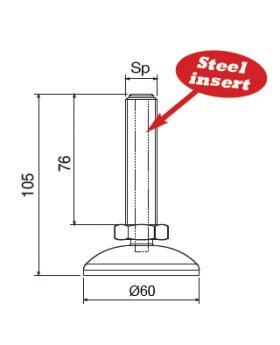 STELVOET Ø60mm | L=76xM16 - SW24