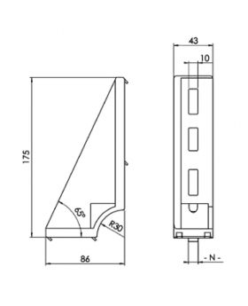 GRONDBEUGEL 43x175 | RECHTS